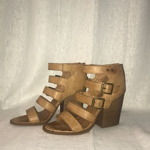 Strappy brown leather block heels